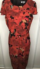 PER UNA MARKS AND SPENCER orange tiered floral patterned shift dress  12 Autumn