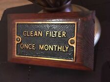 """Original genuine old industrial Cast Brass Sign """" CLEAN FILTER ONCE MONTHLY"""""""