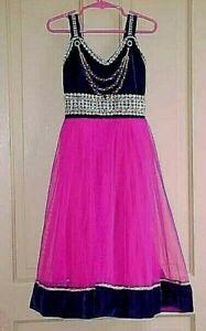 Princess costume DRESS Girls size 6 / 7 Purple velvet Pink skirt & Necklace