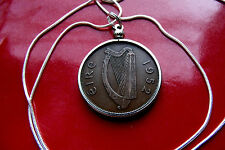 """1952  IRISH PENNY PENDANT CLASSIC BRONZE on 30"""" 925 Sterling Silver Snake Chain"""