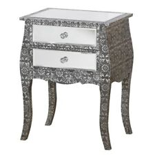 BLACK SILVER EMBOSSED MIRRORED GLASS BEDSIDE LAMP TABLE (T4323)