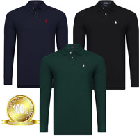 GENUINE RALPH LAUREN MEN'S LONG SLEEVE POLO SHIRT BLACK/ NAVY/ GREEN RRP£99