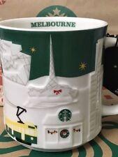 NEW Starbucks 2015 MELBOURNE Australia Christmas Green relief 18 oz mug NEW!