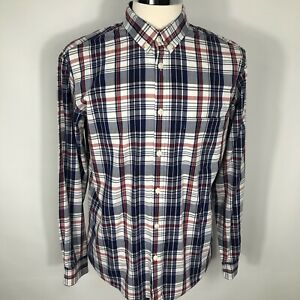 Mens Jaeger Shirt Red White Blue Check Long Sleeve Shirt Size Large