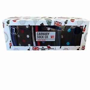 CARNABY SOCK CO. LONDON ENGLAND W1 -7 Pack Pair Men's Socks Size 8-12 Trendy