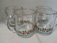 Christmas Holly Berry Clear Glass Coffee Tea Cocoa Mugs Cups Gold Rim Set of 4