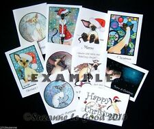 Siamese Cat Art Christmas Cards 10 mixed from original painting Suzanne Le Good