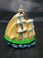 Large Vintage Sailboat Glass Ornament