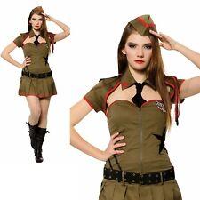 Femmes Kaki Femme Sexy Soldat Déguisement Costume Militaire Adulte Costume