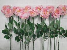 12 Deko Rosen rosa künstlich Seidenblumen Kunstblumen Rose Stiel Blumen wie echt