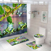 Frog Shower Curtain Bathroom Rug Set Thick Bath Mat Non-Slip Toilet Lid Cover