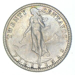 Roughly Size of Nickel 1913 Philippines 20 Centavos World Silver Coin *572
