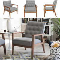 US Modern Fabric Arm Chair Single Sofa Seat Leisure Living Room Furniture Grey