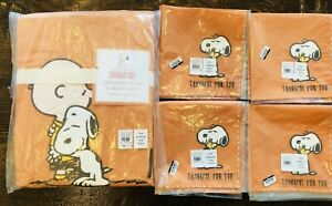 Pottery Barn Kids Peanuts Thanksgiving Tablecloth 4 Napkins Set New Decor Snoopy