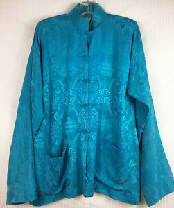 SZ 12 Shanghai Tang Blue Pattern Silk Koi Luck Symbol Tang Jacket Womans