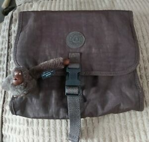 Kipling Flax Brown Foldable Hanging Toiletry Travel Wash Bag With Monkey Bryan