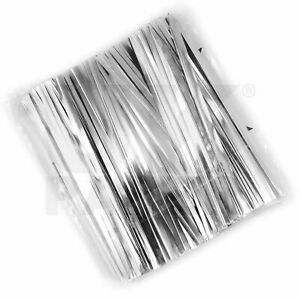 METALLIC PLASTIC & WIRE TWIST TIES 4 CONE CELLOPHANE SWEET PARTY CAKE GIFT BAGS