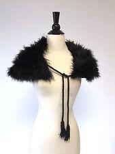 Victorian Edwardian Antique black ostrich marabou black feather shawl or cape