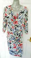PER UNA Size 18 Ivory Blue Pink Floral Stretch Dress NEW RRP £45 Ruched Detail