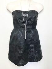 KAREN MILLEN black floral woven pattern strapless dress sz 14 boned bodice