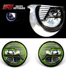 07-17 Jeep JK Wrangler Rock Crawler Green LED Headlight DRL+Hi+Lo Beam+Cree LEDs