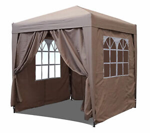 QUICK STAR Pop-Up-Pavillon, 2,5 x 2,5 m, Sand mit Easy-Klett Seitenwandumhang