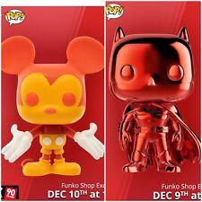 Funko Pop! 12 Days Of Christmas Red Chrome Batman/ Orange-Yellow Mickey Exl