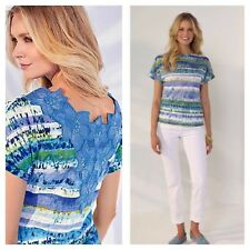 Kaleidoscope Size 10 Blue Multi Print Lace Back Detail TOP Occasion Holiday New