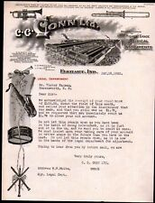 1922 Elkhart Indiana - Conn Ltd - Musical Instruments - Letter Head History Rare