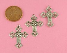 Ant Silver Plated Brass Art Nouveau Filigree Cross Drop - 4 Pc(s)