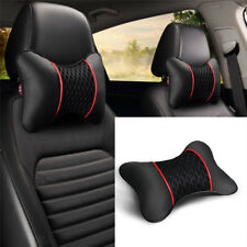 Leather Woven Ice Silk Vehicles Car Seat Neck Cushion Headrest Black & red X2