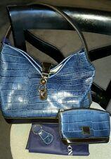 NEW Dooney & Bourke Logo Lock Sac Croc Leather Purse/Cosmetic Bag & Key Fob SALE