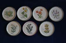 7 Fayencen mit Blumenbildern von HERR Keramik Handmalerei 11 cm Durchmesser
