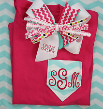 Personalized Embroidered Chevron Pink Tee Shirt and Matching Chevron Bow