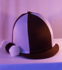 RIDING HAT COVER - BROWN & WHITE