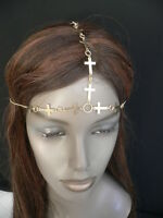 NEW WOMEN GOLD METAL MULTI CROSSES HEAD CHAIN CIRCLET FASHION JEWELRY GRECIAN
