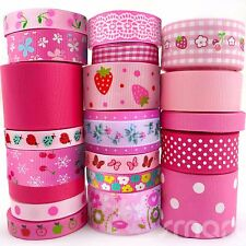 "20x1 Yards Assorted Grosgrain Ribbon 20 Styles 3/8""--1.5"" Pink Theme Craft Bow"