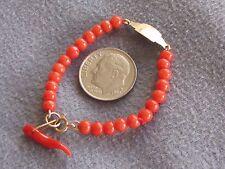 "4.5"" Vintage Natural Italian Orange Red Coral Bead Baby Bracelet 14K Coral Horn"