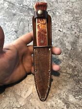 Vintage IMPERIAL USA fixed blade hunting knife 1950's Leather Sheath ELK DEER