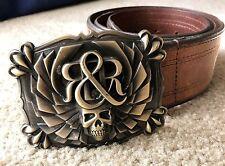 "Rock & Republic BROWN 34"" belt SKULL buckle Men's LARGE MSRP $195"