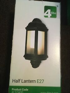 Half Lantern Wall Light 6W LED - Black Outdoor Outside Fitting Polycarbonate