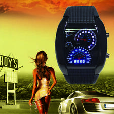 HOT Cool Men RPM Turbo Sport Watch Car Speed Meter Dial Flash LED Wrist Watch GA