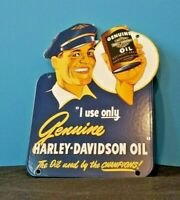 HARLEY DAVIDSON MOTORCYCLE PORCELAIN GAS VINTAGE STYLE SERVICE STATION DOOR SIGN