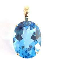 Large Blue Topaz 15*20mm Pendant Enhancer Oval Cut 14k Yellow Solid Gold