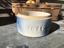 Antique Hull Blue White Embossed Butter Crock Apricot /  Plum Pattern NO LID