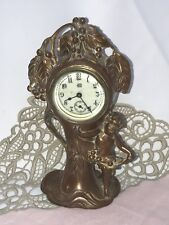 Antique Art Nouveau Deco Desk Mantle Clock Jennings Bros Copper Cherub Child Vtg
