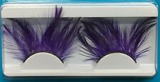 Purple Feather Eyelashes False Fake Long Drag Queen Dramatic Clown Showgirl