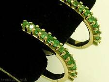 E034-  Genuine Solid 9ct Yellow Gold NATURAL Emerald HUGGIES Hoop Earrings