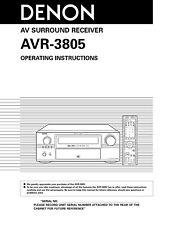 Denon AVR-3805 AV Surround Receiver Owners Manual
