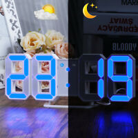 LED Digital Large 3D Wall Alarm Clock Brightness Dimmer Snooze Timer USB Charge